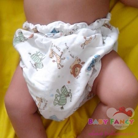กางเกงผ้าอ้อมแบบสวมขา ทำจากผ้า cotton เป้าหนา4ชั้น